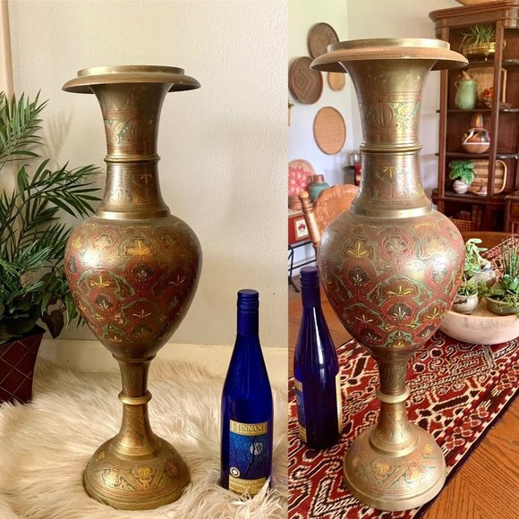 Large Etched Brass Floor Vase Bohemian Tall Boho